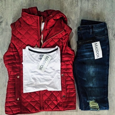 Keepin' Cozy | Quilted Hooded Vest, Jersey Crew Top, Skinny Med Rise Jeans
