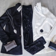 Date Night | Boyfriend Blazer, Real Leaf Necklace, Snake Box Clutch, Swirl Bead Necklace, Sequin Leggings
