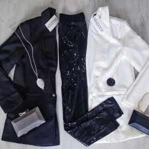 Date Night | Boyfriend Blazer, Real Leaf Necklace, Snake Box Clutch, Swirl Bead Necklace, Sequin Leggings