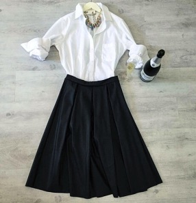 Weekend Brunch | Leather Midi Skirt, Boyfriend Buttonfront, Stone + Jewel Statement Necklace